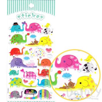 Colorful Cartoon Elephant Shaped Jelly Stickers | Cute Animal Themed Scrapbook Decorating Supplies