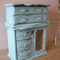 upcycled Aqua Blue JEWELRY Box ... shabby chic cottage