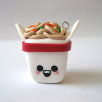 Chinese Take Out Box with Noodles Polymer Clay Charm