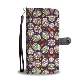 Colorful Skulls Phone Wallet Case