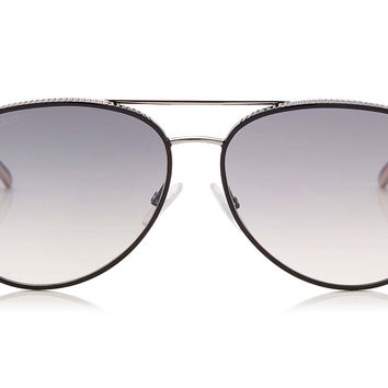 Jimmy Choo - Reto Black Palladium Aviator with Micro Studs Detailing Sunglasses