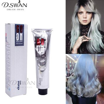 Sliver Gray Hair Color Dye Cream Grey Hair Colour Permanent Hair Dyeing Non-Toxic Hair Style Cream 100ML