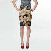 Peach Flowers Floral - Fitted Skirt - Pencil Skirt - Knee Skirt -  S M L XL - Women's Skirt Clothing