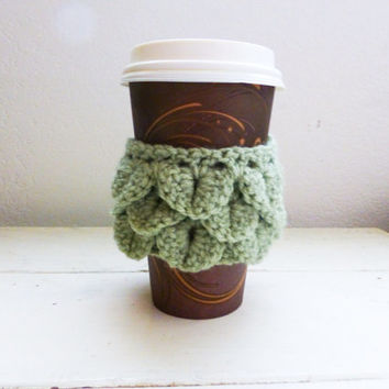Crochet coffee sleeve, crochet cup cozy, crocodile stitch, button closure, coffee jacket, coffee sweater, ready to ship, handmade, crochet