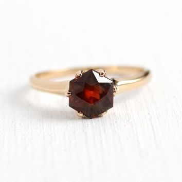 Sale - Alternative Engagement Ring - Vintage Genuine Brown Orange Sapphire 14k Yellow Gold Fine Jewelry - Size 5 1/4 Gem With EGL Appraisal
