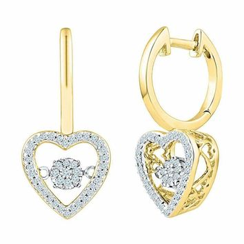 10kt Yellow Gold Women's Round Diamond Heart Moving Twinkle Dangle Earrings 1-4 Cttw - FREE Shipping (US/CAN)