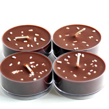 4 Hot Cocoa Maxi Tealights, Scented Candles, Brown Tealights, Candles with sprinkles, Extra Large Tealights, Handmade Candles, Gift Idea