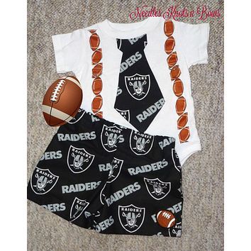 Boys Oakland Raiders Outfit, Baby Boys Raiders Football Outfit, Boys Coming Home Outfit