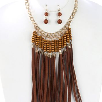 Brown Faux Suede Fringe Wooden Bead Bib Necklace And Earring Set