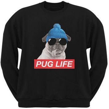 CREYCY8 Pug Life Adult Black Sweatshirt