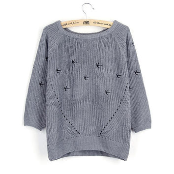 Winter Embroidery Hollow Out Long Sleeve Pullover Sweater [8216432129]