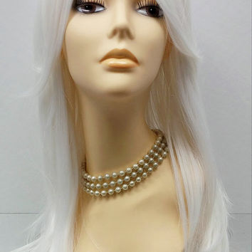Long 24 inch Straight White Heat Resistant Fashion Wig. Scene Wig. Festival Wig. [50-272-Emily-White]