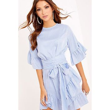Fashion Simple Stripe Bow Bandage Irregular Frills Middle Sleeve Mini Dress