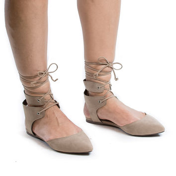 Deanna01 Beige F-Suede Pointed Toe Laced Ankle Cuff Leg Wrap Ballerina Flat Sandals