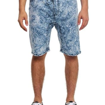 Men's Paisley Print Denim Dropcrotch Shorts JS337 - I1B