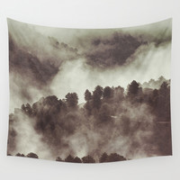 Foggy morning at the mountains. Retro forest Wall Tapestry by Guido Montañés
