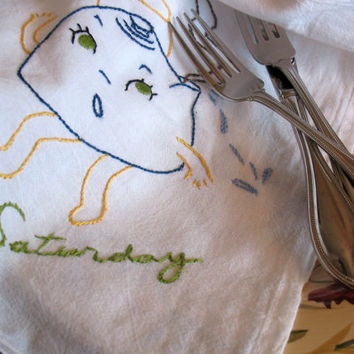 Flour Sack Towel Days of the week Dish Towels, Vintage Style, Pots and Pans, Flour Sack Towels, Hand Embroidered