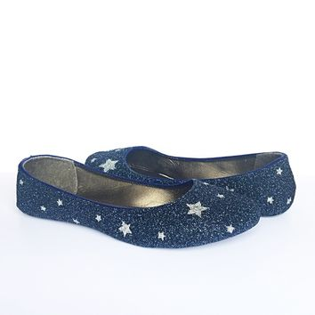 Navy Glitter Flats, Silver Star Ballet Shoes