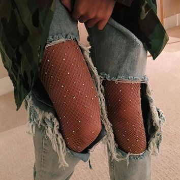 ESBON Summer Hollow Out Women Tights Sexy Rhinestone Mesh Fishnet Pantyhose Slim Fish Net Tight Diamond Stockings Party Club Hosiery D