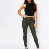 ASOS PETITE Rivington High Waisted Jegging in Washed Khaki