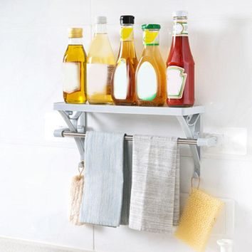 Towel Bar Cosmetic Rack Bathroom Storage Wall Shelf For Shampoo Shelves with Towel Rack Hanger Hooks Household Supplies