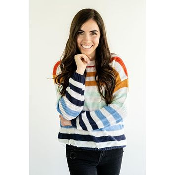 Gabriella Colorful Stripe Lightweight Knit Sweater