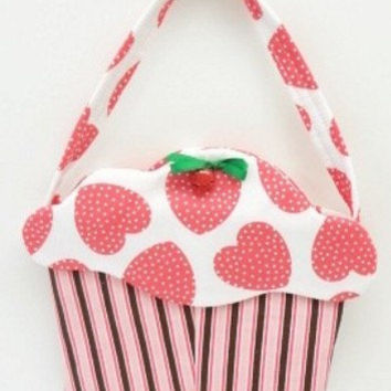 girls purse cupcake purse goodie bag cloth gift bag treat bag  pink brown large hearts cup103