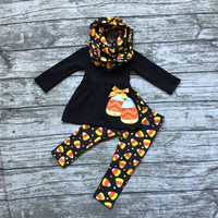 hot sell FALL/Winter Halloween corn candy print 3 pieces scarf black orange pant baby  girls boutique clothes kids  top sets