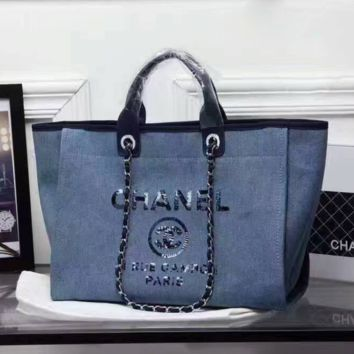 CHANEL Women Shopping Leather Metal Chain Crossbody Satchel Shoulder Bag Light blue