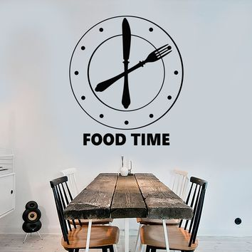 Vinyl Wall Decal Clock Food Time Kitchen Funny Decoration Stickers Unique Gift (1641ig)