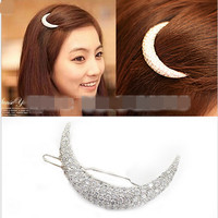 Newest Crystal Moon Rhinestone Hair Accessories For Women,Hair Clips For Girls Headdress Hairpin Clamps  scrunchy
