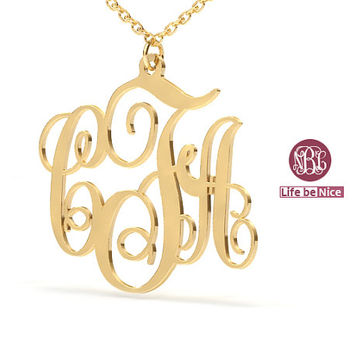 """Gold Plated pendant necklace Monogram Necklace 1.25"""" hand made 18k Gold Plated Necklace name Necklace Personalized Monogram Sterling silver"""