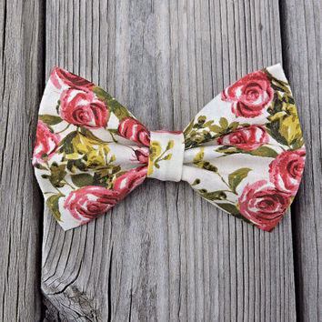 Roses Hair Bow, Large Floral Bow, Ivory Pink Green French Barrette, Sock Bun Bow Clip, Cute Flower Hair Accessories