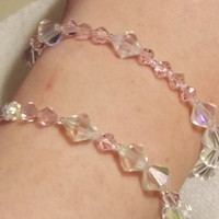 "Set of 2 Morse Code ""Maid of Honor"" Swarovski Crystal and Seed Bead Stretch Bracelet"