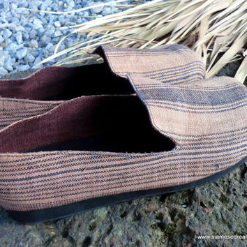 Mens Earthy Woven Hemp Comfort Vegan Loafer Shoe in Almond Tan With Charcoal Grey Accents