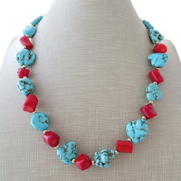 Red coral necklace, turquoise necklace, summer necklace, coral earrings, boho chic jewelry, beach jewels, gioielli, beaded necklace