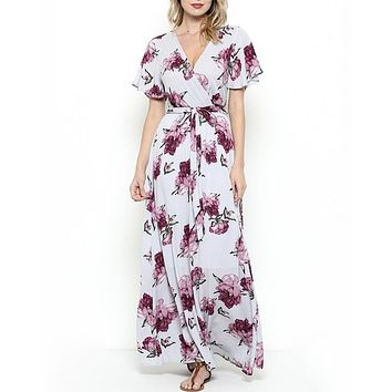the lone traveler floral maxi wrap dress - light purple