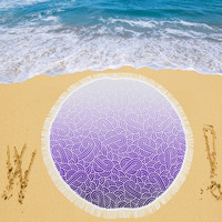 """Ombre purple and white swirls doodles Circular Beach Shawl 59""""x 59"""" 