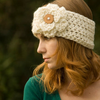 Flower Ear Warmer Headband with Wood Button, Cream, Christmas in July Sale, CIJ