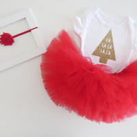 Baby Girl Christmas Tree Outfit - Gold Christmas Tree Bodysuit, Red Tutu and Red Shabby Chic Headband - Complete Baby Holiday Outfit- SALE