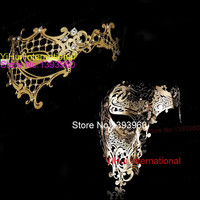 Black Gold Silver White Phantom Man Woman Venetian Mask Masquerade Metal Couple Masks Skull Face Half Halloween Party Masks