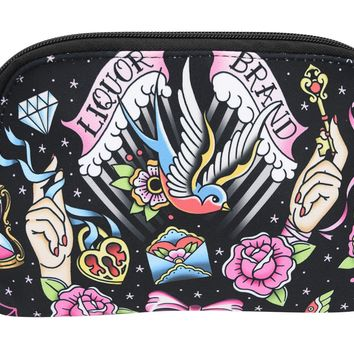 LiquorBrand True Love Flash Tattoo Sparrows Tattoo Art Cosmetic Bag Pouch