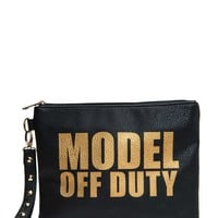 Model Off Duty Text Wrislet Clutch