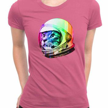 DCCKG72 Astronaut Space Cat WoMen T Shirts
