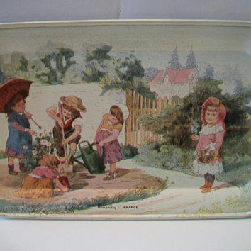 Vintage Gardening Children Tray Massilly France Rectangular Tin Retro Home Decor Garden Scene