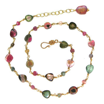"Watermelon Tourmaline Slice Necklace Rainbow Tourmaline Necklace Tourmaline Jewelry Station Necklace 16"" 17 1/2""  Fall Jewelry"