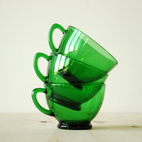 Fire King Charm Tea Cups - 1950s Green Glass