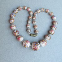 1950's Vintage White & Pink Venetian Glass Wedding Cake Murano Graduated Bead Necklace
