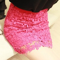 Pretty Spring Summer. Fuchsia Daisy Lace Mini Skirt. PRE-ORDER