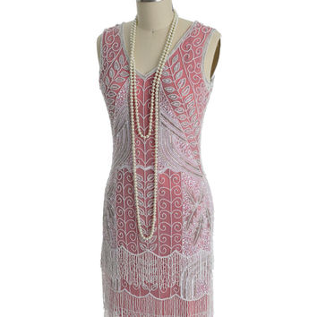 1920s Style Rose White Beaded Fringe Flapper Dress